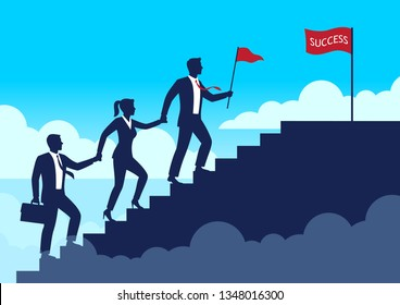 Silhouette leader businessman and team walking up staircases to the top of success, Leadership teamwork business concept growth and the path to goal, Flat design vector illustration