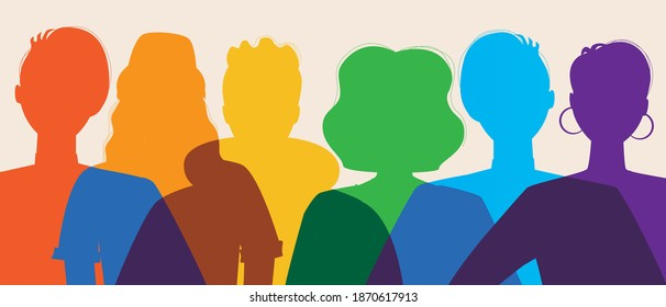 Silhouette of LGBTQ people isolated. Silhouette vector stock illustration. Concept of homosexual, gay community, tolerant LGBTQ society. Lesbians and gays as representatives of LGBT people