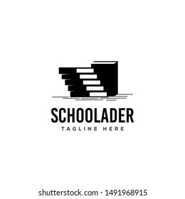 Silhouette of Library Books With Negative Space of Stairs Logo