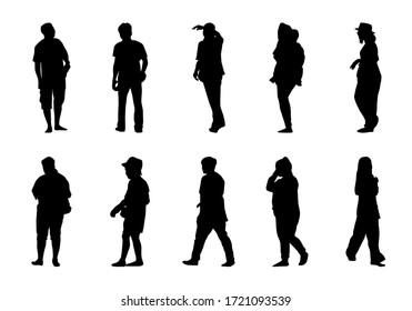 Silhouette lifestyle people on white background, Man and women walking vector, isolate shape group girl and boy illustration