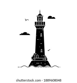 Silhouette lighthouse on island in middle of sea with clouds and waves in flat style. Vector illustration of seascape