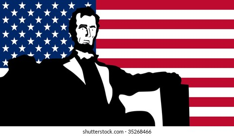 silhouette of Lincoln Memorial on United States of America flag background