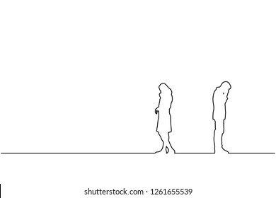 Silhouette of line couple man and woman broken heart on white background. Couple break up relation of love concept. Eps10 Vector illustration.
