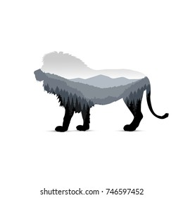 Silhouette of lion with panorama of mountains. Valley(canyon). Three peaks. Grey shades.