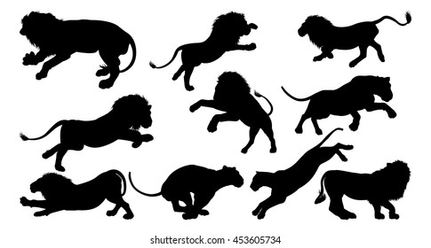 Silhouette Lions. A set of male and female lions in silhouette