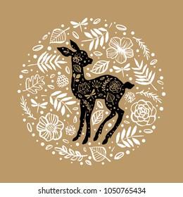 Silhouette of little baby deer, fawn in the flower pattern circle. Hand drawn design elements. Vector illustration. Nursery scandinavian art.