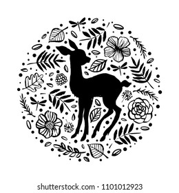 Silhouette of little baby deer, fawn in the flower pattern circle. Hand drawn design elements. Vector illustration. Nursery art.