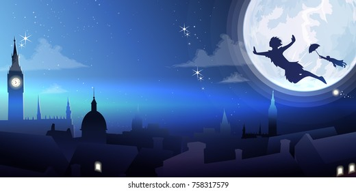 Silhouette little boy flying.Banner fullmoon night city background vector