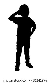 Silhouette of a little boy saluting