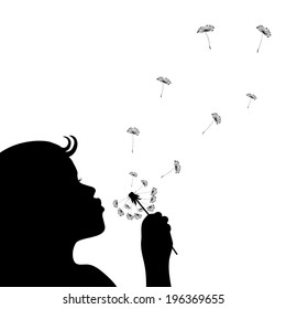 Silhouette of a little girl blowing dandelion isolated in white. Vector EPS8.