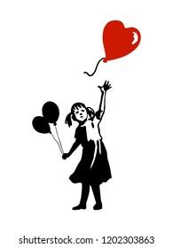 Silhouette des kleinen Mädchen und fliegenden Herzballon. Kostenloses Street Art Konzept. Spray-Schablone