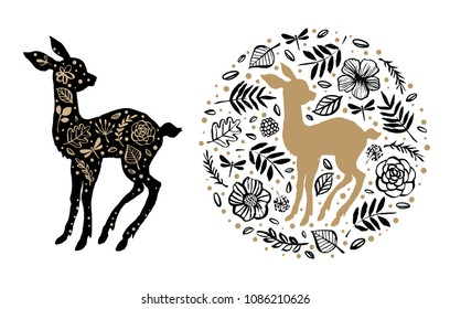 Silhouette of little sweet baby deer, fawn with flower pattern in the floral circle. Hand drawn design elements. Vector illustration. Nursery scandinavian art.