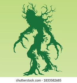 """Silhouette of a living plant in the style of the game """"dungeons and dragons"""" on a green background"""