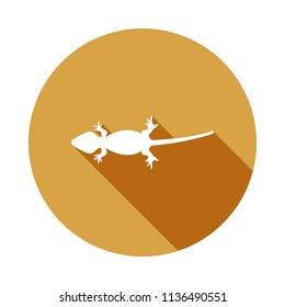 silhouette of a lizard icon in Flat, Long shadow on white background