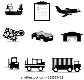 Silhouette logistic cargo warehouse inventory system and transportation icon collection set in isolated background, create by vector