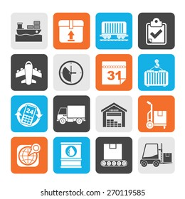 Silhouette Logistic and Shipping icons - vector icon set