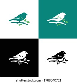 Silhouette logo of a bird perched on a tree branch. Calm, clean and professional characteristics.