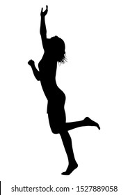 The silhouette of a lonely woman who stands on the floor on one leg in a summer dress, she pulls her hand up and tries to get something