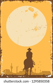 Silhouette of lonesome cowboy riding horse at sunset on  a tin sign, vector