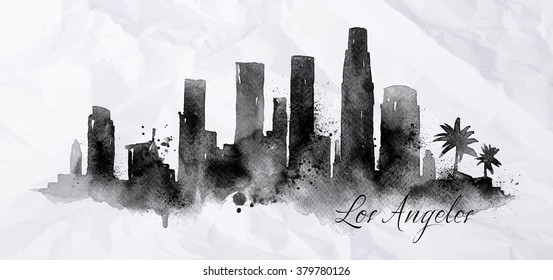 Silhouette of Los Angeles city painted with splashes of ink drops streaks landmarks drawing on crumpled paper