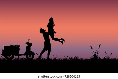 Silhouette love couple, Love on sunset background. Illustration vector valentine concept