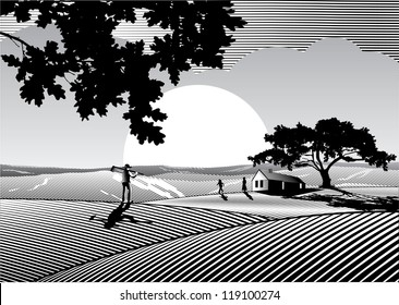 Silhouette of lovely family, tree and  house at farm field in woodcut style