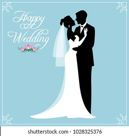 Silhouette of a loving couple of newlyweds groom and bride in wedding suits Stock vector illustration