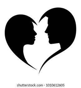 Silhouette of loving man and woman looking at each other in the heart-shaped frame, isolated on white background. Vector illustration