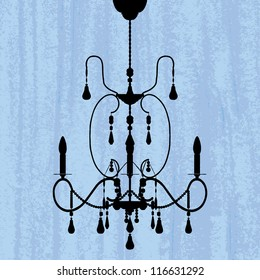 silhouette of luxury chandelier on a scratched blue wallpaper/ template design of invitation with chandelier