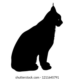 Silhouette of the Lynx on a white background