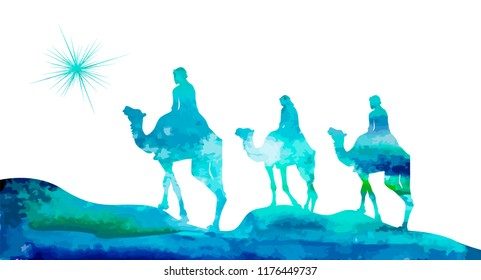 silhouette of the Magi on camels