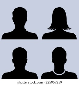 Silhouette of male & female as avatar profile pictures - vector icon set
