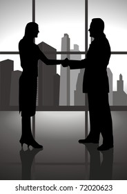 Silhouette of a male and female figure shaking hand