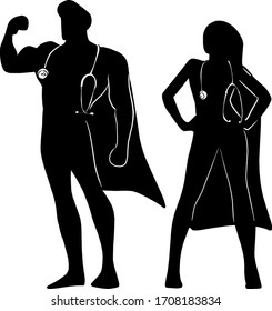 silhouette male and female superhero with stratoscope on their neck to fight against Covid-19 virus vector illustration sketch doodle hand drawn isolated on white background