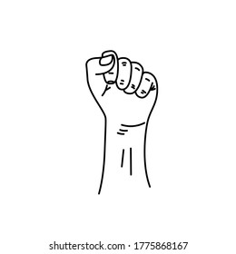 Silhouette male fist growth on a white background with white lines defining the fingers and thumb. Protest, poster of the revolutionary rebel revolution.
