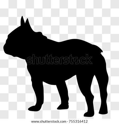 Silhouette Male French Bulldog Seen Left Stock Vector Royalty Free