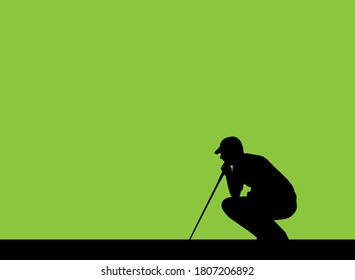 Silhouette of a male golfer crouching to observe undulations in the green that will affect the direction of the ball before putting, vector silhouette isolated on green background.