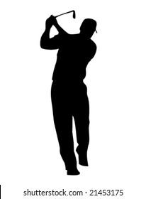 Silhouette of male golfer swinging golf club