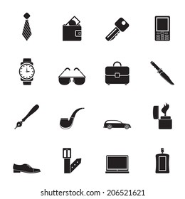 Silhouette man accessories icons and objects- vector illustration