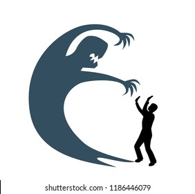 silhouette of a man is afraid and closes his hands from a big gray monster