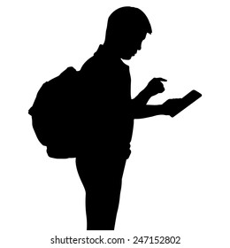 Silhouette man with backpack using dgital tablet computer, vector format