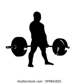 silhouette man with barbell deadlift