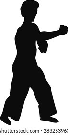 Silhouette of a man in black on a white background .