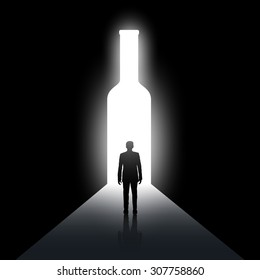 Silhouette of man and the bottle. Alcoholism and drunkenness. Stock vector image.
