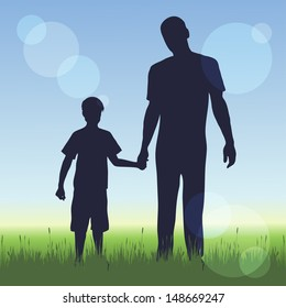 silhouette of man and a boy on nature background