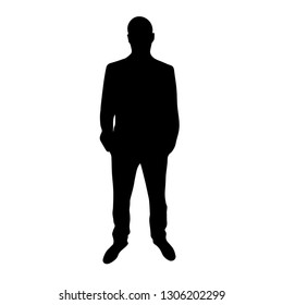 Silhouette man. Businessman in suit, isolated vector silhouette