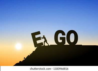 Silhouette man change EGO to GO text on top mountain, sky and sun light background. Business, success, challenge, motivation, achievement and goal concept. Vector illustration.