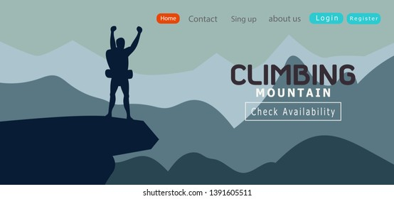 silhouette of man climbing Standing on top of a mountain Hiker cheering elated.Success Leadership concept