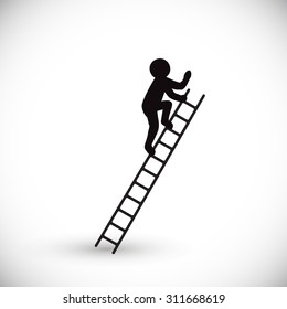 Silhouette of a man climbs stairs. Isolated on white background. Vector illustration.