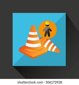 silhouette man and cone warning icon design vector illustration eps 10